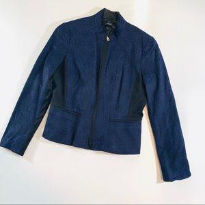 👻 Tahari Navy Blue Blazer Jacket Printed Sz 10